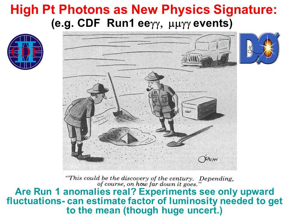 High Pt Photons as New Physics Signature: (e.g.