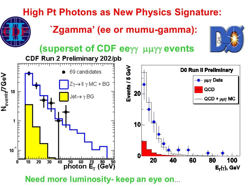 High Pt Photons as New Physics Signature: `Zgamma' (ee or mumu-gamma): (superset of CDF ee  events Need more luminosity- keep an eye on …
