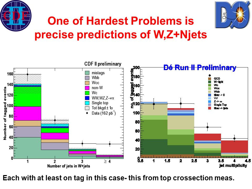One of Hardest Problems is precise predictions of W,Z+Njets Each with at least on tag in this case- this from top crossection meas.