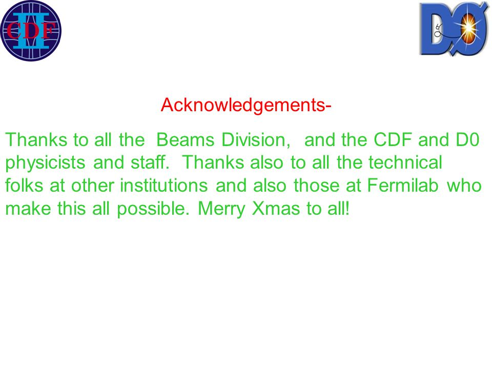 Acknowledgements- Thanks to all the Beams Division, and the CDF and D0 physicists and staff. Thanks also to all the technical folks at other instituti
