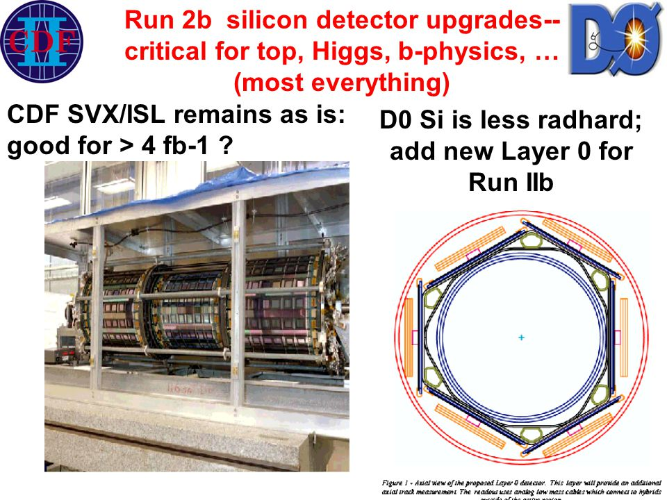 CDF SVX/ISL remains as is: good for > 4 fb-1 ? D0 Si is less radhard; add new Layer 0 for Run IIb Run 2b silicon detector upgrades-- critical for top,