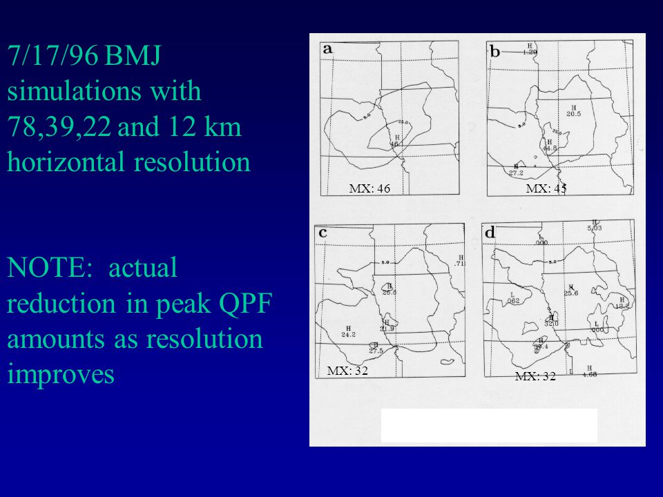 7/17/96 BMJ simulations with 78,39,22 and 12 km horizontal resolution NOTE: actual reduction in peak QPF amounts as resolution improves MX: 46MX: 45 MX: 32