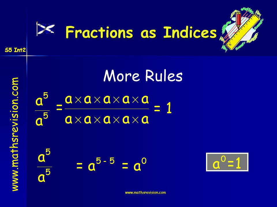 www.mathsrevision.com More Rules Fractions as Indices S5 Int2