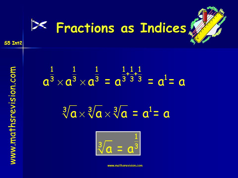www.mathsrevision.com Fractions as Indices S5 Int2