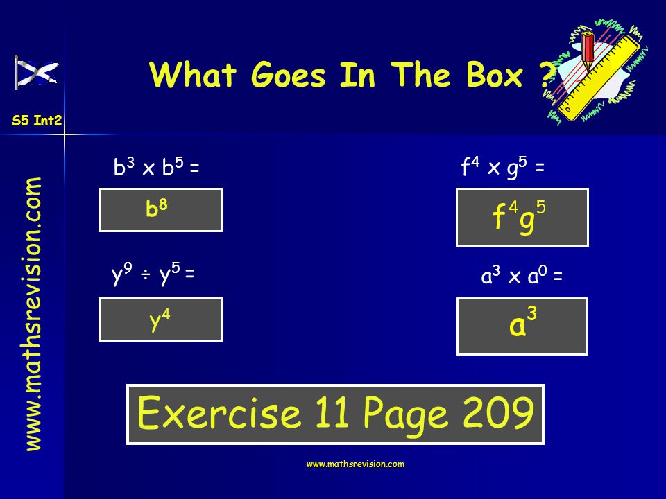 www.mathsrevision.com What Goes In The Box ? b 3 x b 5 = y 9 ÷ y 5 = f 4 x g 5 = a 3 x a 0 = b8b8 y4y4 Exercise 11 Page 209 S5 Int2