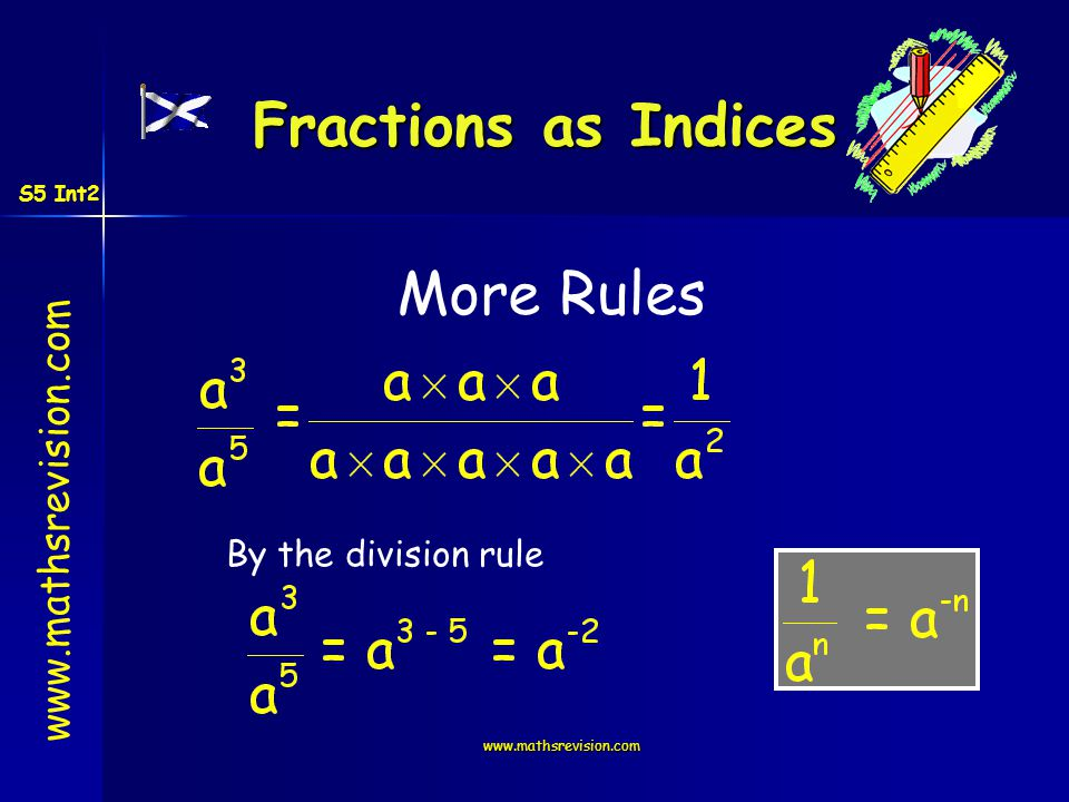 www.mathsrevision.com More Rules By the division rule Fractions as Indices S5 Int2