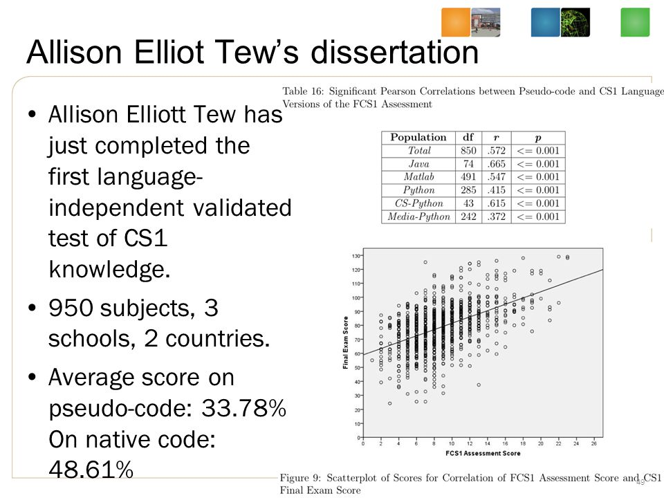 Allison Elliot Tew's dissertation Allison Elliott Tew has just completed the first language- independent validated test of CS1 knowledge.