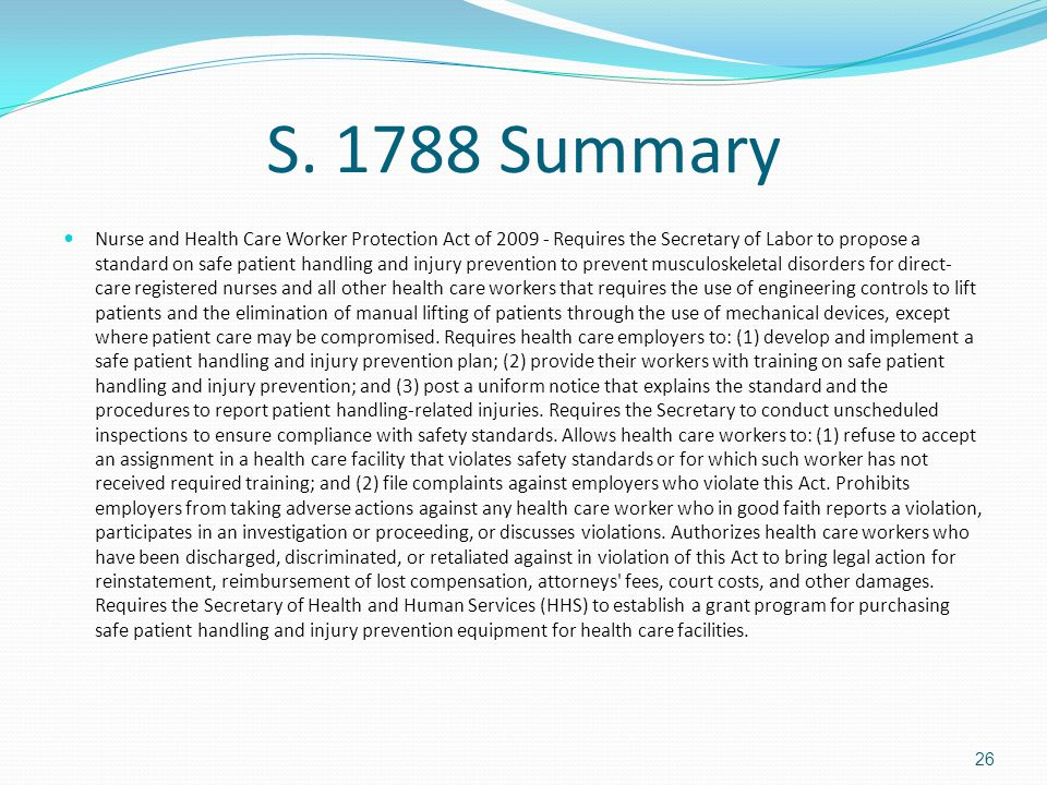 S. 1788 Summary Nurse and Health Care Worker Protection Act of 2009 - Requires the Secretary of Labor to propose a standard on safe patient handling a