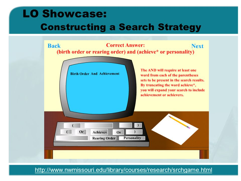 LO Showcase: Constructing a Search Strategy http://www.nwmissouri.edu/library/courses/research/srchgame.html