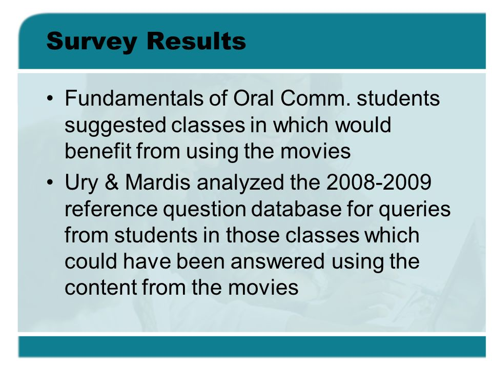 Survey Results Fundamentals of Oral Comm.