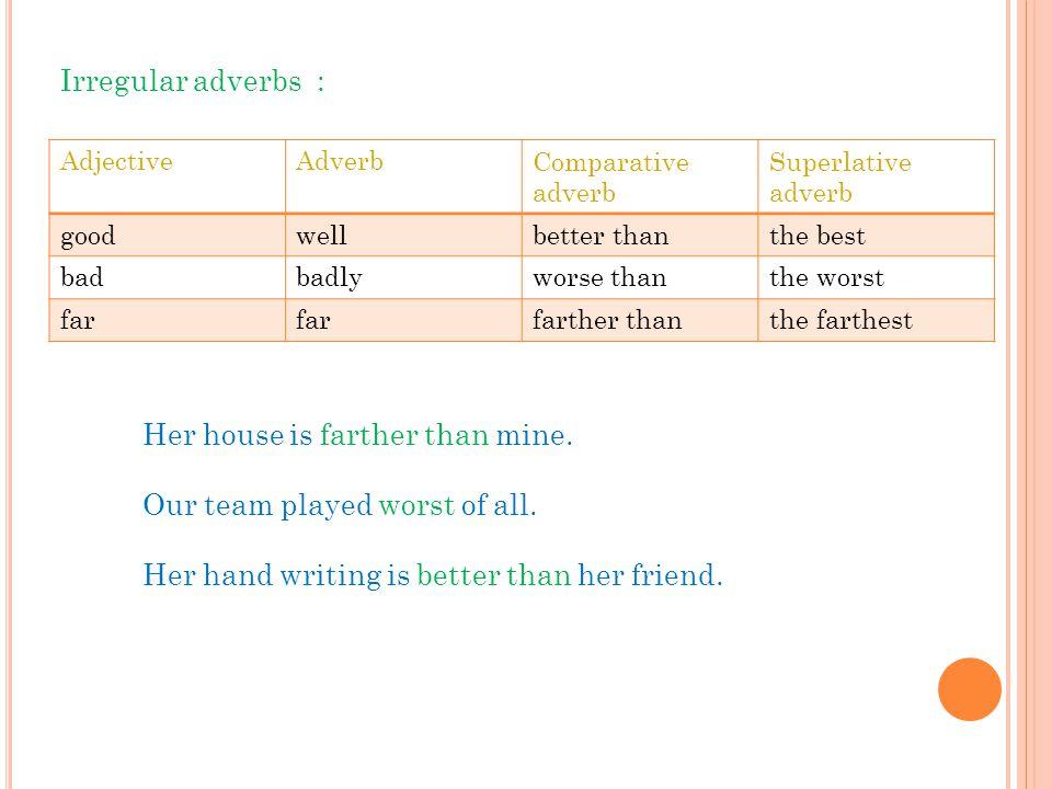 Superlative adverb Comparative adverb AdverbAdjective the bestbetter thanwellgood the worstworse thanbadlybad the farthestfarther thanfar Irregular ad