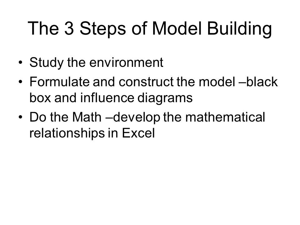 The 3 Steps of Model Building Study the environment Formulate and construct the model –black box and influence diagrams Do the Math –develop the mathematical relationships in Excel