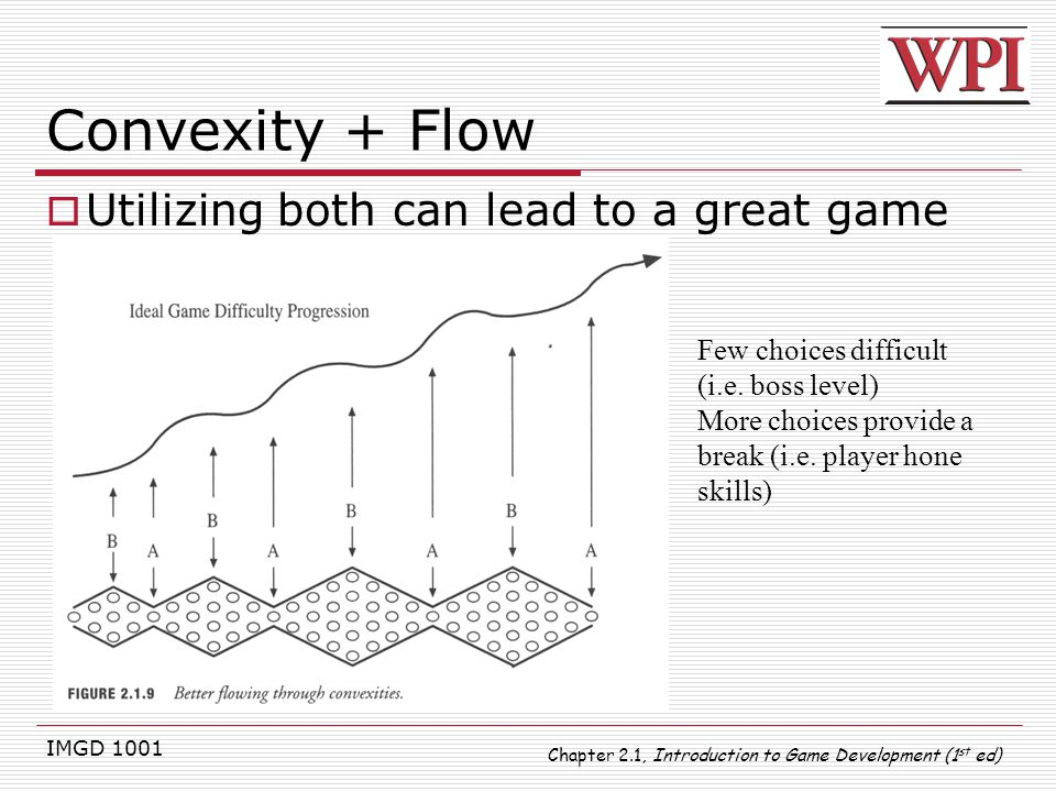 IMGD 1001 Convexity + Flow  Utilizing both can lead to a great game Few choices difficult (i.e. boss level) More choices provide a break (i.e. player
