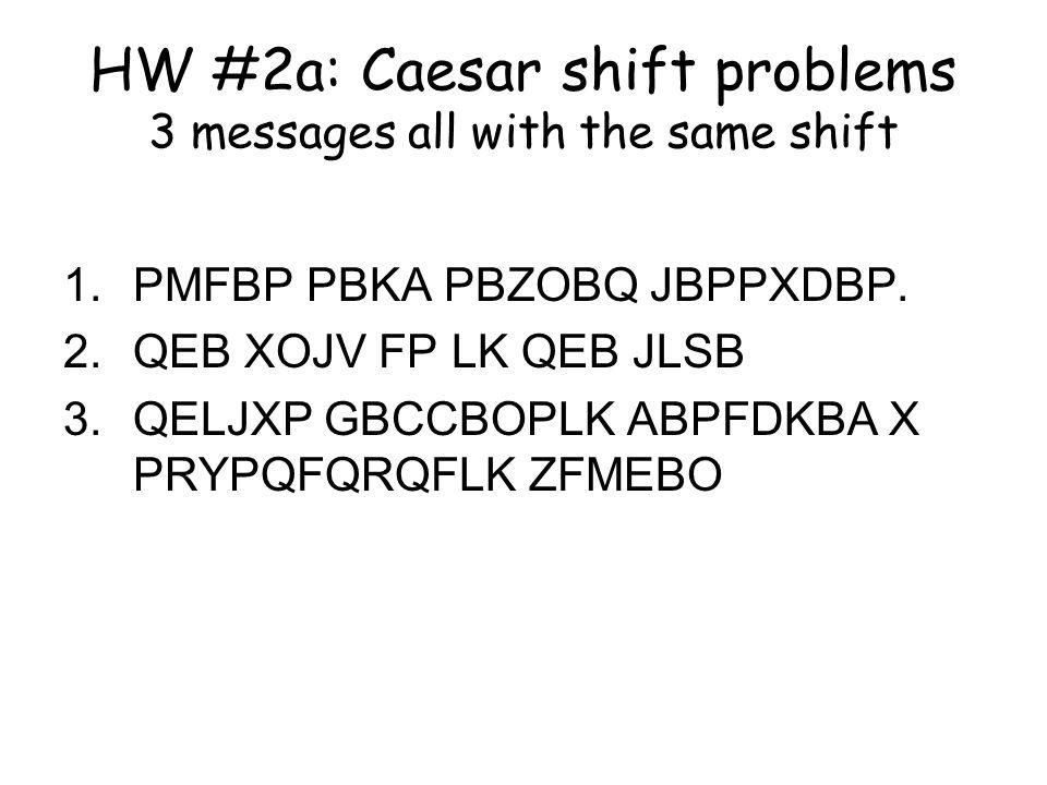HW #2a: Caesar shift problems 3 messages all with the same shift 1.PMFBP PBKA PBZOBQ JBPPXDBP. 2.QEB XOJV FP LK QEB JLSB 3.QELJXP GBCCBOPLK ABPFDKBA X