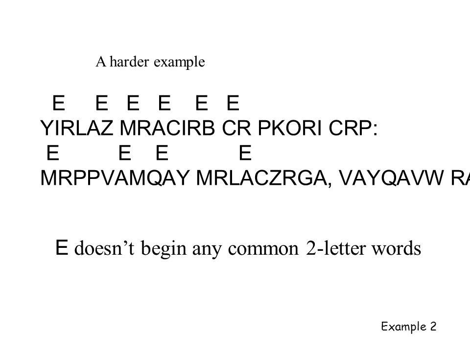 A harder example E E E E E E YIRLAZ MRACIRB CR PKORI CRP: E E E E MRPPVAMQAY MRLACZRGA, VAYQAVW RA E doesn't begin any common 2-letter words Example 2