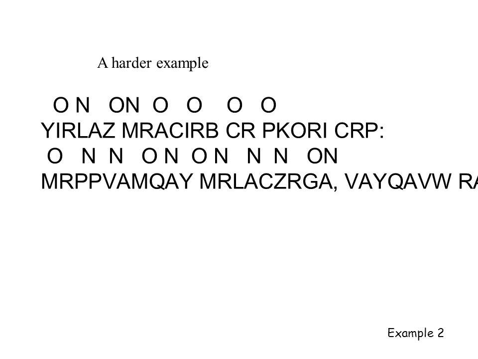 A harder example O N ON O O O O YIRLAZ MRACIRB CR PKORI CRP: O N N O N O N N N ON MRPPVAMQAY MRLACZRGA, VAYQAVW RA Example 2
