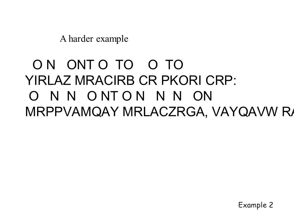 A harder example O N ONT O TO O TO YIRLAZ MRACIRB CR PKORI CRP: O N N O NT O N N N ON MRPPVAMQAY MRLACZRGA, VAYQAVW RA Example 2