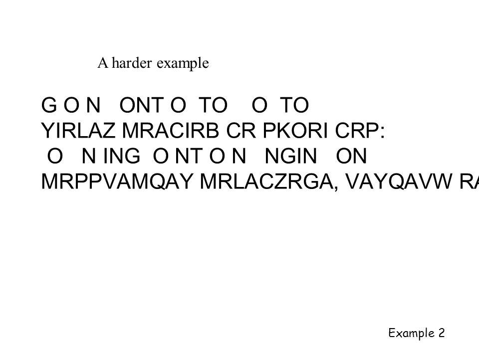 A harder example G O N ONT O TO O TO YIRLAZ MRACIRB CR PKORI CRP: O N ING O NT O N NGIN ON MRPPVAMQAY MRLACZRGA, VAYQAVW RA Example 2
