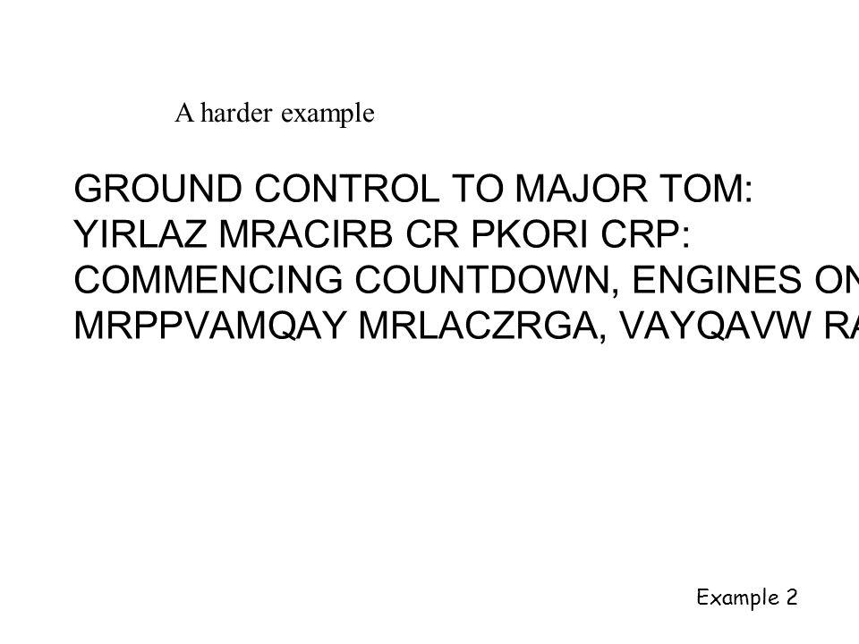 A harder example GROUND CONTROL TO MAJOR TOM: YIRLAZ MRACIRB CR PKORI CRP: COMMENCING COUNTDOWN, ENGINES ON MRPPVAMQAY MRLACZRGA, VAYQAVW RA Example 2