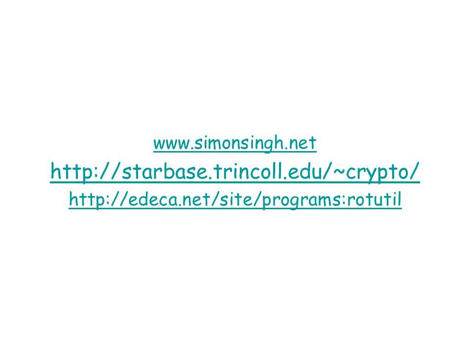 www.simonsingh.net http://starbase.trincoll.edu/~crypto/ http://edeca.net/site/programs:rotutil