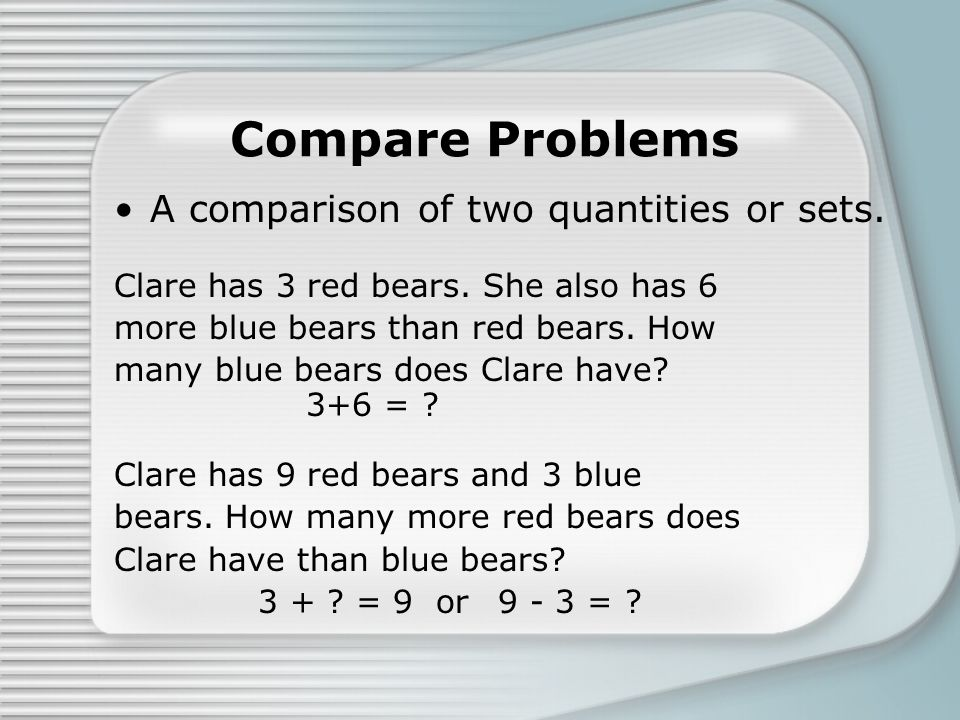 Compare Problems A comparison of two quantities or sets. Clare has 3 red bears. She also has 6 more blue bears than red bears. How many blue bears doe