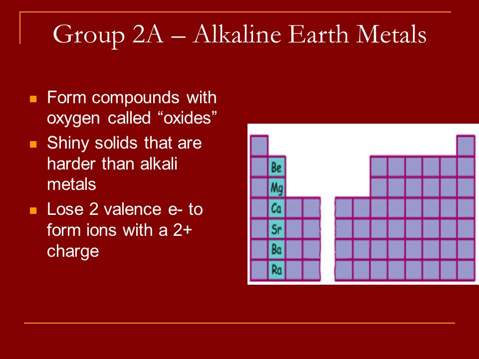 Group 2A – Alkaline Earth Metals Form compounds with oxygen called oxides Shiny solids that are harder than alkali metals Lose 2 valence e- to form ions with a 2+ charge