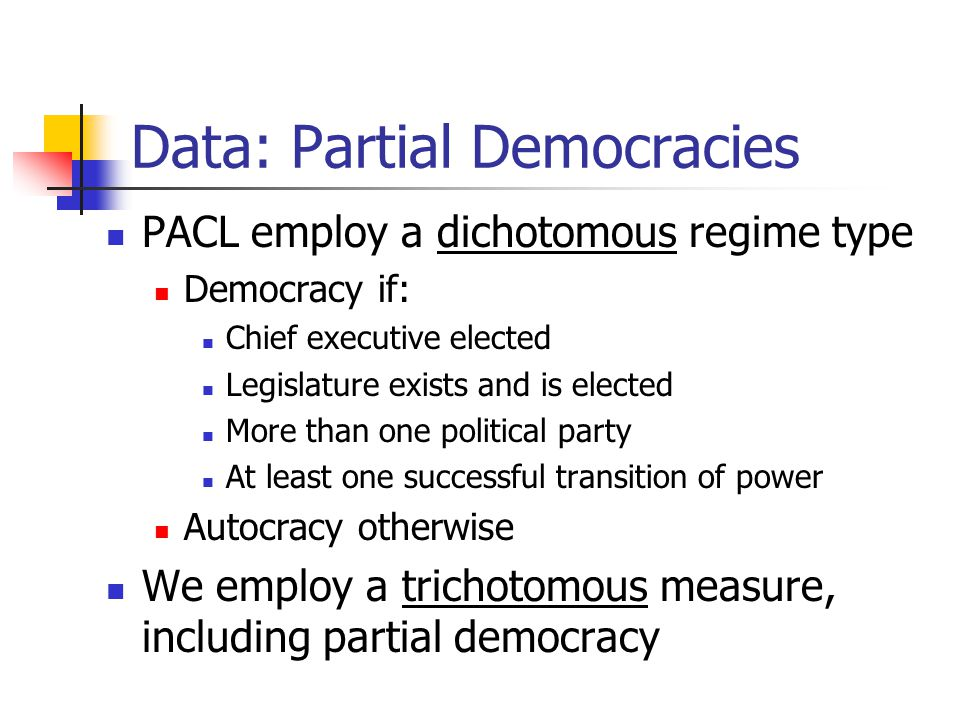 Data: Partial Democracies PACL employ a dichotomous regime type Democracy if: Chief executive elected Legislature exists and is elected More than one political party At least one successful transition of power Autocracy otherwise We employ a trichotomous measure, including partial democracy