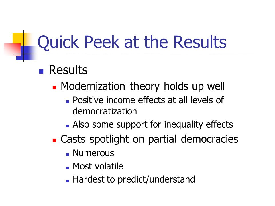 Quick Peek at the Results Results Modernization theory holds up well Positive income effects at all levels of democratization Also some support for inequality effects Casts spotlight on partial democracies Numerous Most volatile Hardest to predict/understand