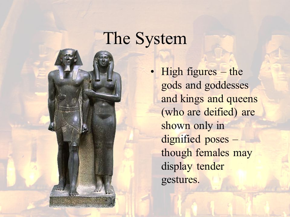 The System High figures – the gods and goddesses and kings and queens (who are deified) are shown only in dignified poses – though females may display