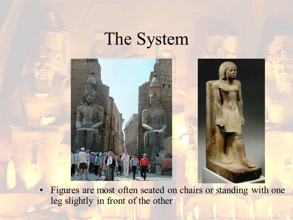 The System Figures are most often seated on chairs or standing with one leg slightly in front of the other
