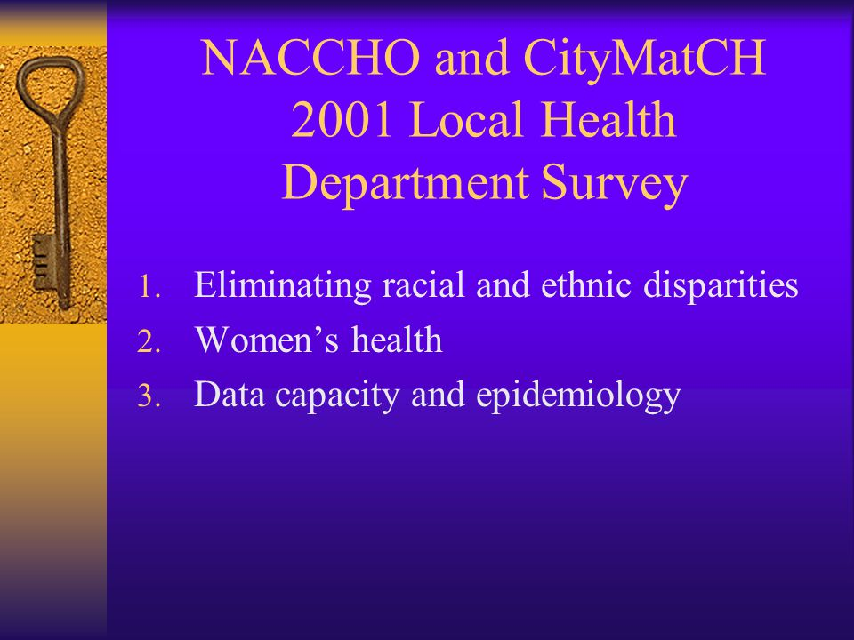 NACCHO and CityMatCH 2001 Local Health Department Survey 1.