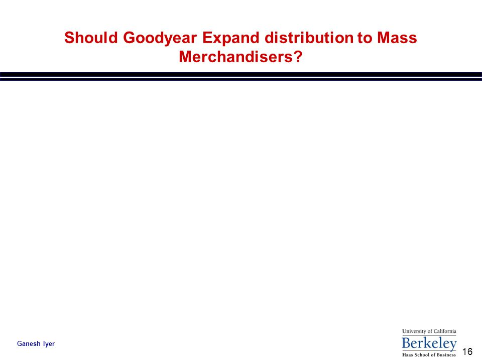16 Ganesh Iyer Should Goodyear Expand distribution to Mass Merchandisers?