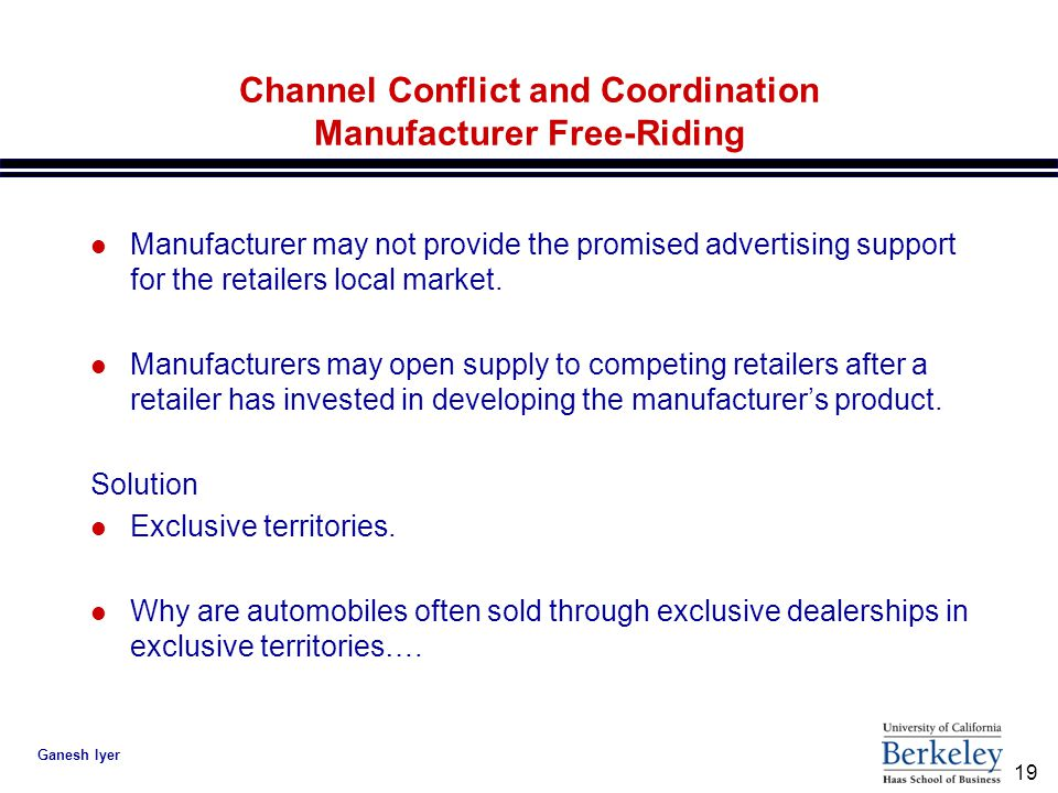 19 Ganesh Iyer Channel Conflict and Coordination Manufacturer Free-Riding l Manufacturer may not provide the promised advertising support for the retailers local market.