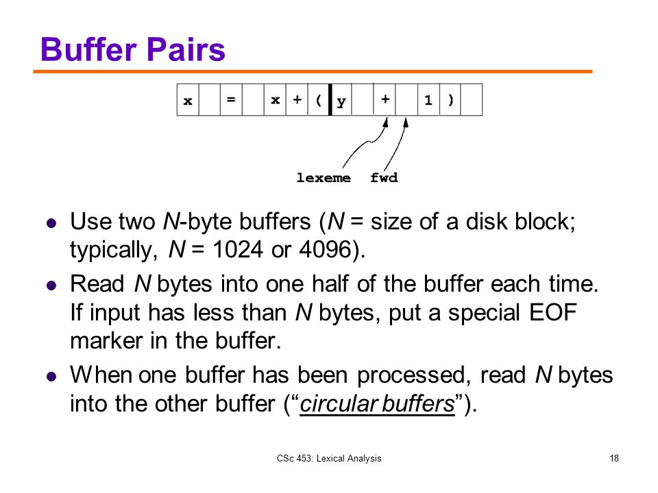 CSc 453: Lexical Analysis18 Buffer Pairs Use two N-byte buffers (N = size of a disk block; typically, N = 1024 or 4096). Read N bytes into one half of