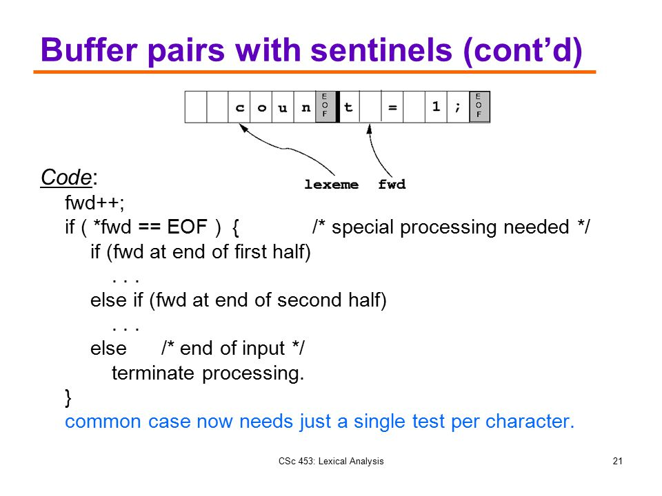 CSc 453: Lexical Analysis21 Buffer pairs with sentinels (cont'd) Code: fwd++; if ( *fwd == EOF ) { /* special processing needed */ if (fwd at end of f