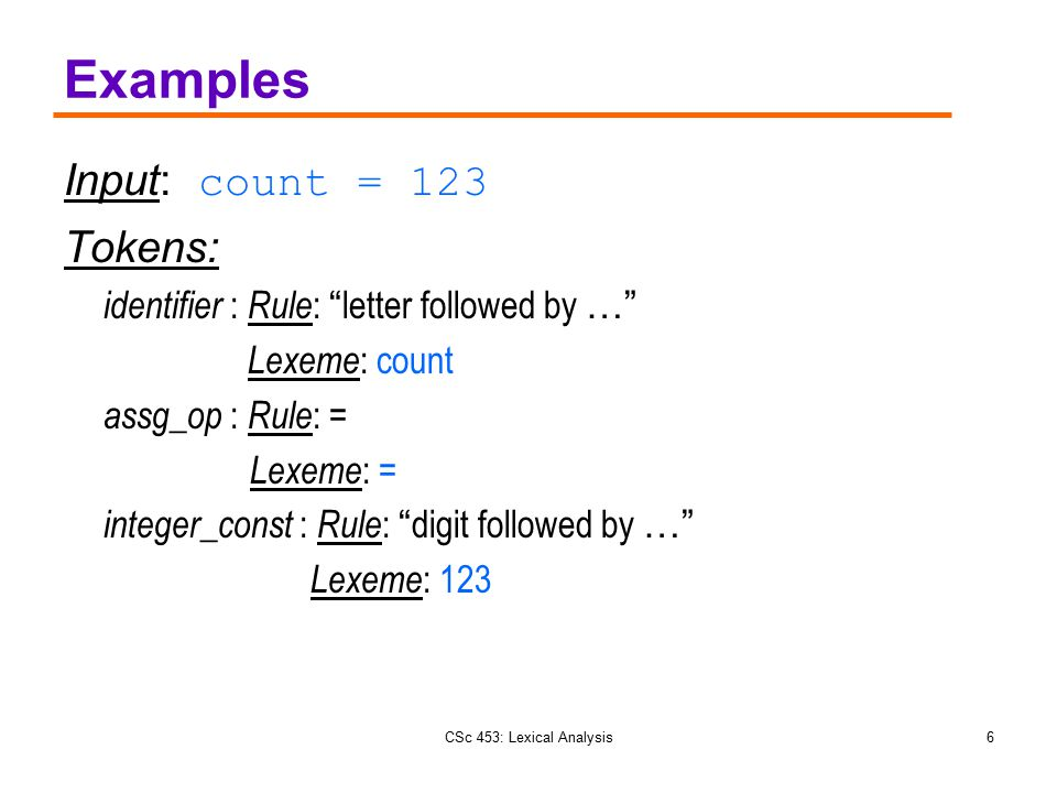 "CSc 453: Lexical Analysis6 Examples Input: count = 123 Tokens: identifier : Rule : "" letter followed by …"" Lexeme : count assg_op : Rule : = Lexeme :"
