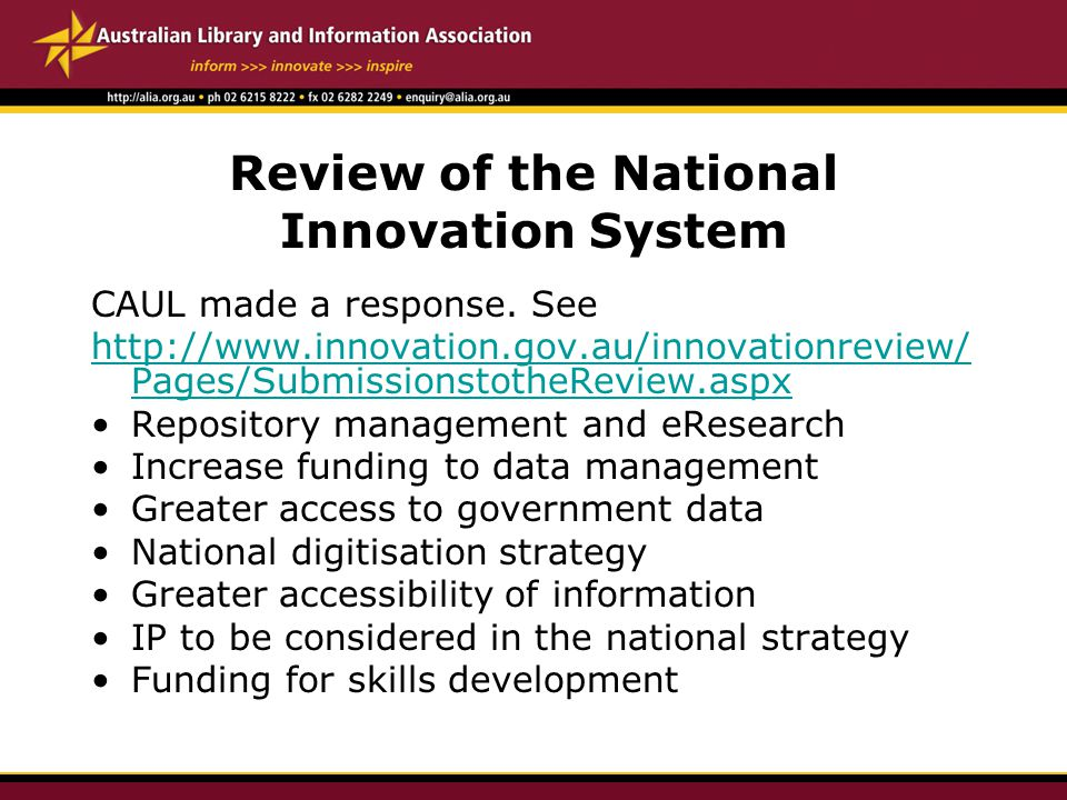 Review of the National Innovation System CAUL made a response.