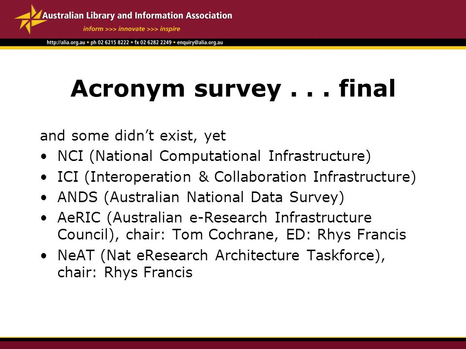 Acronym survey...