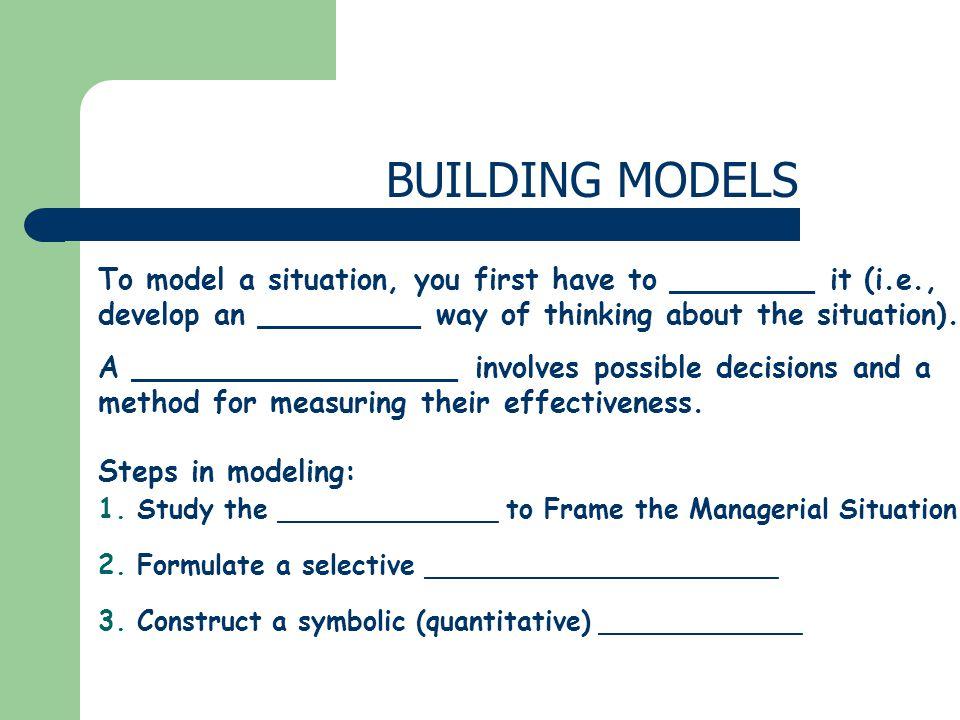 BUILDING MODELS 1.