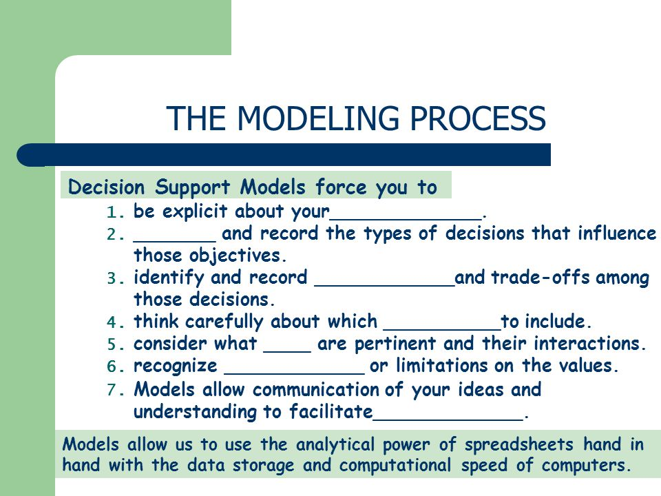 Decision Support Models force you to be explicit about your_____________.