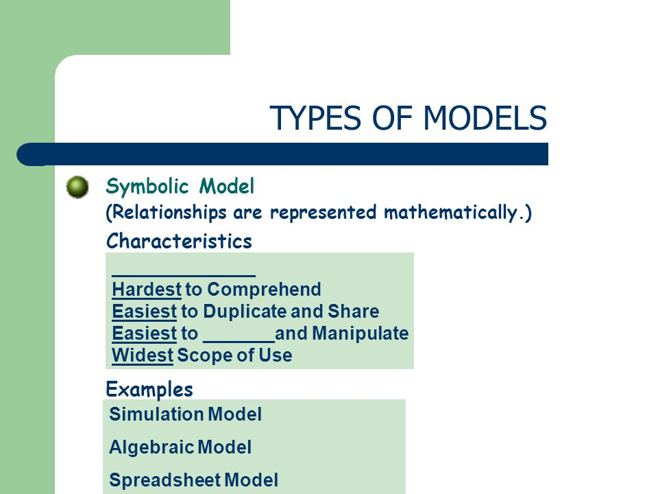 Symbolic Model (Relationships are represented mathematically.) TYPES OF MODELS ______________ Hardest to Comprehend Easiest to Duplicate and Share Easiest to _______and Manipulate Widest Scope of Use Characteristics Simulation Model Algebraic Model Spreadsheet Model Examples