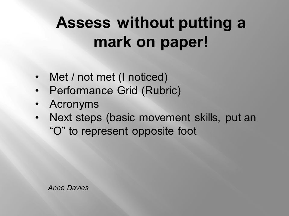 Anne Davies Assess without putting a mark on paper! Met / not met (I noticed) Performance Grid (Rubric) Acronyms Next steps (basic movement skills, pu