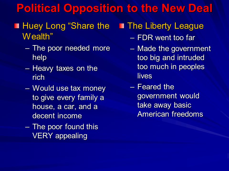From the beginning a number of Americans opposed the New Deal.