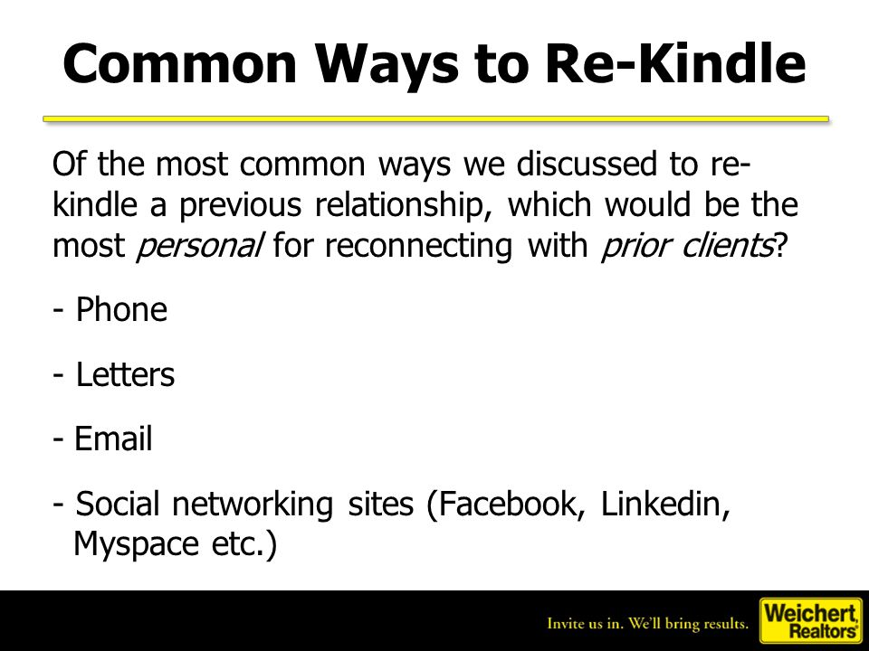 Common Ways to Re-Kindle Of the most common ways we discussed to re- kindle a previous relationship, which would be the most personal for reconnecting with prior clients.