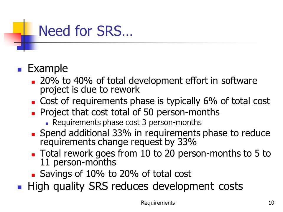 Requirements10 Need for SRS… Example 20% to 40% of total development effort in software project is due to rework Cost of requirements phase is typical