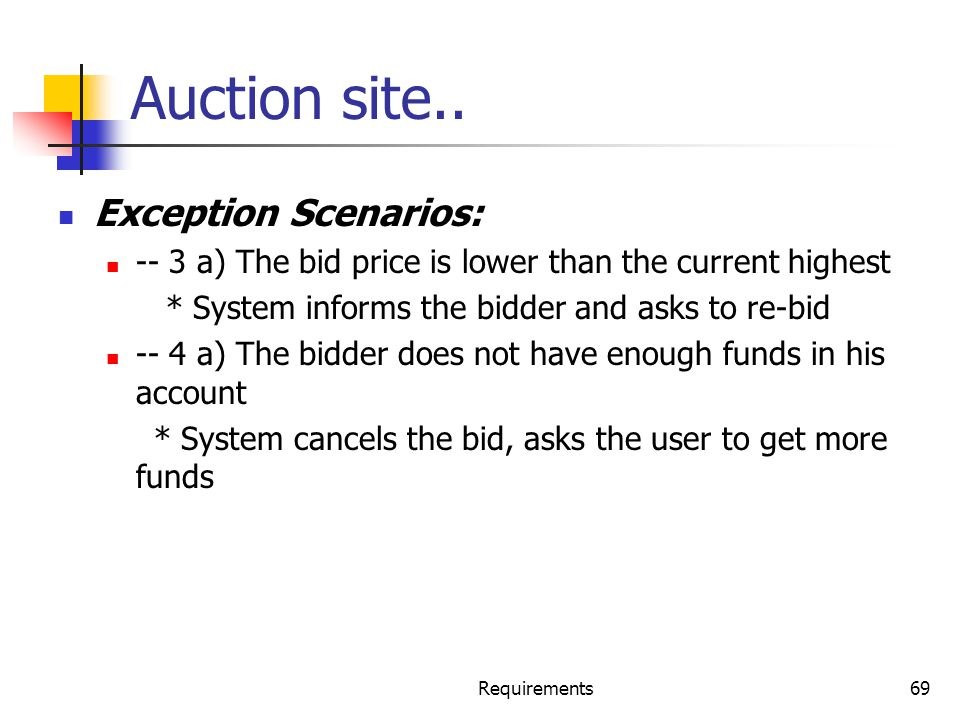 Requirements69 Auction site.. Exception Scenarios: -- 3 a) The bid price is lower than the current highest * System informs the bidder and asks to re-