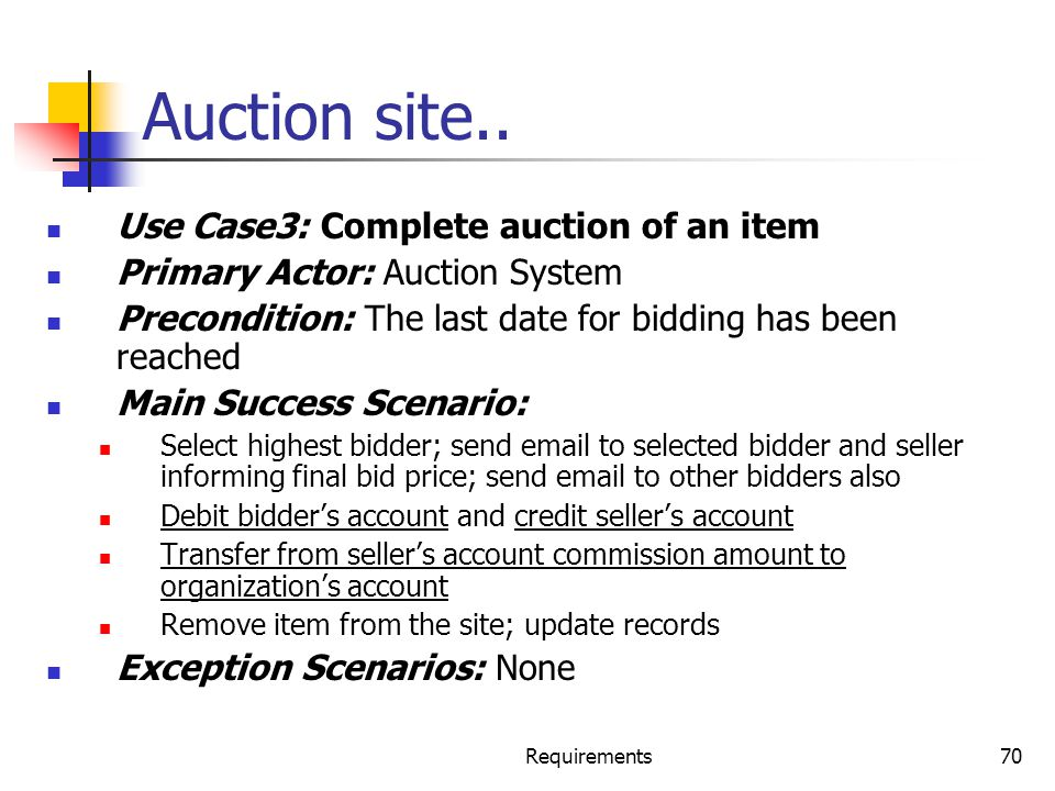 Requirements70 Auction site.. Use Case3: Complete auction of an item Primary Actor: Auction System Precondition: The last date for bidding has been re