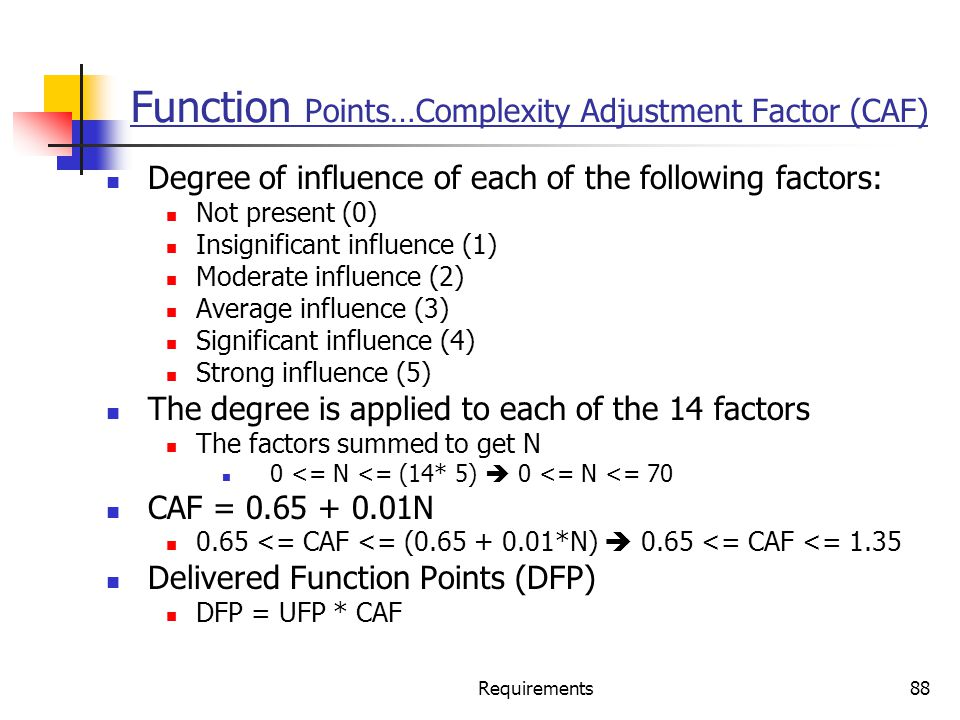 Requirements88 Function Points…Complexity Adjustment Factor (CAF) Degree of influence of each of the following factors: Not present (0) Insignificant
