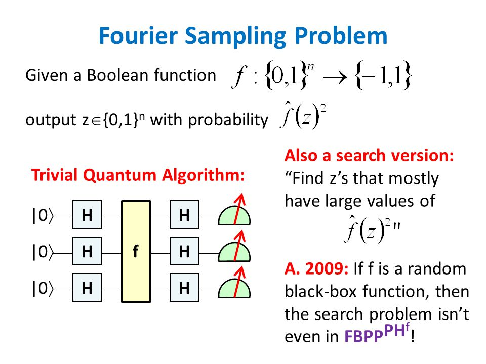 Fourier Sampling Problem Given a Boolean function output z  {0,1} n with probability Trivial Quantum Algorithm: H H H H H H f |0  Also a search version: Find z's that mostly have large values of A.