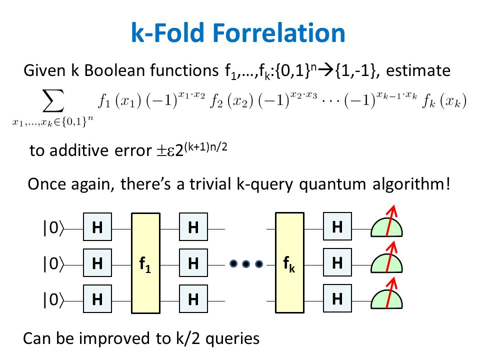 k-Fold Forrelation Given k Boolean functions f 1,…,f k :{0,1} n  {1,-1}, estimate Can be improved to k/2 queries to additive error  2 (k+1)n/2 Once again, there's a trivial k-query quantum algorithm.